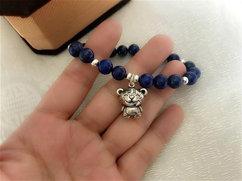 Natural Stone Lapis Lazuli Bracelets with 925 Silver Chinese Zodiac Pendant