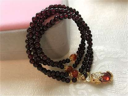 Picture of Red Garnet with Plating Gold Red Crystal Pi Xiu Pi Yao Pendant Women Bracelet/Necklace
