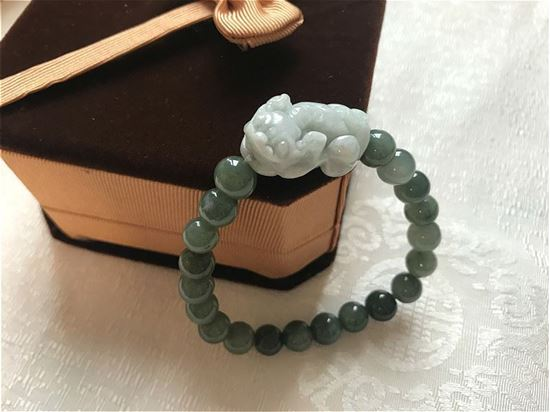Picture of Natural Jade Pixiu Pi Yao Charm Bracelet, Lucky Feng Shui Amulet for Women