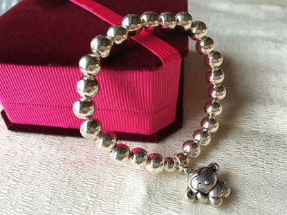 Picture of 925 Sterling Silver Bracelet Made with 8mm Round Beads with Monkey Sign for Good Luck