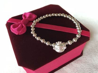 Picture of 925 Sterling Silver Bracelet Made with 5mm Round Beads and 999 Silver Monkey Sign for Good Luck