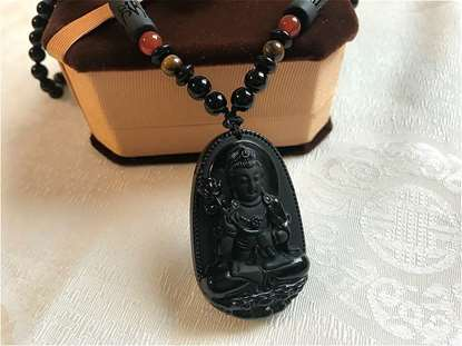 Picture of Natural Black Obsidian Eight Guardian Bodhisattva Amulet Necklaces for 12 Zodiac Signs