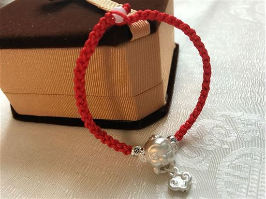 Picture of Red Rope 999 Sterling Silver Chinese Zodiac Monkey Charm Bracelet