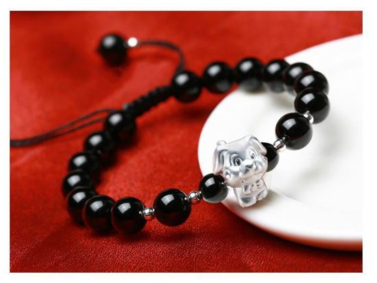 Picture of Black Agate 3D 999 Silver 12 Chinese Zodiac Signs Charm Bracelet
