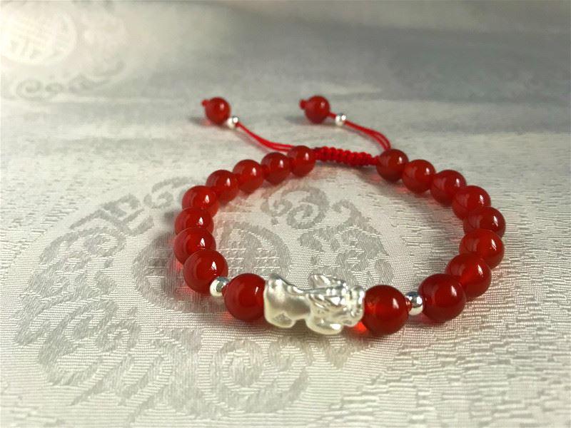 Red Agate 925 Silver Pi Xiu