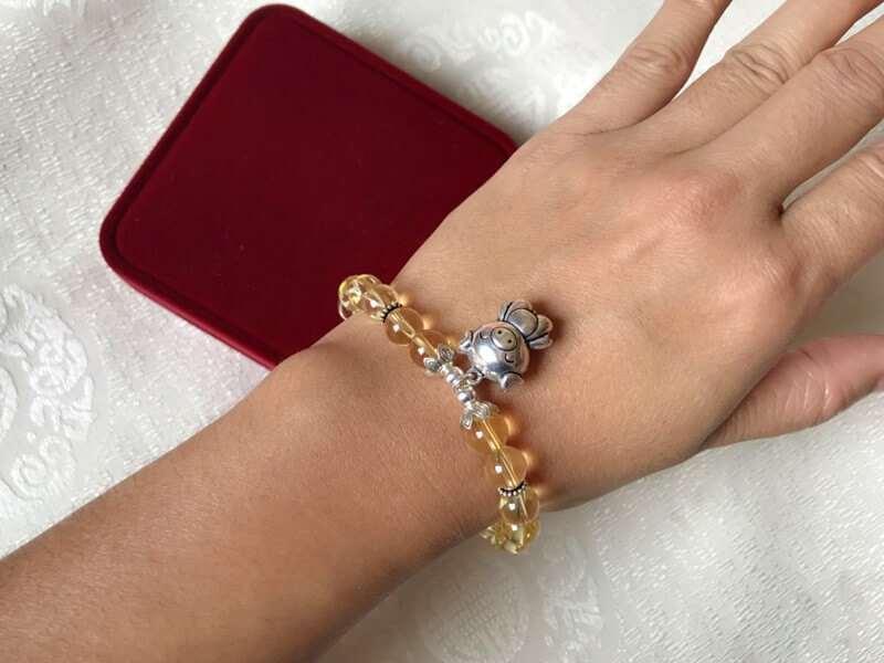 925 Silver Chinese Zodiac Yellow Citrine Crystal Charm