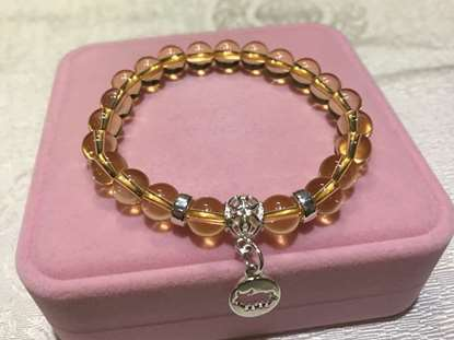 Picture of 925 Silver Yellow Citrine Crystal Chinese Zodiac Charm Bracelet for Good Wealth