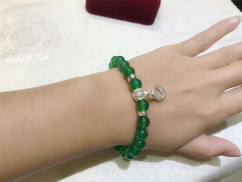Green Agate Beads 925 Silver 12 Chinese Zodiac Beaded Charm Bracelet for  Good Health