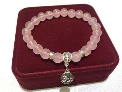 Picture of Rose Quartz 925 Silver 12 Chinese Zodiac Animals Charm Bracelet for Good Love Relationship