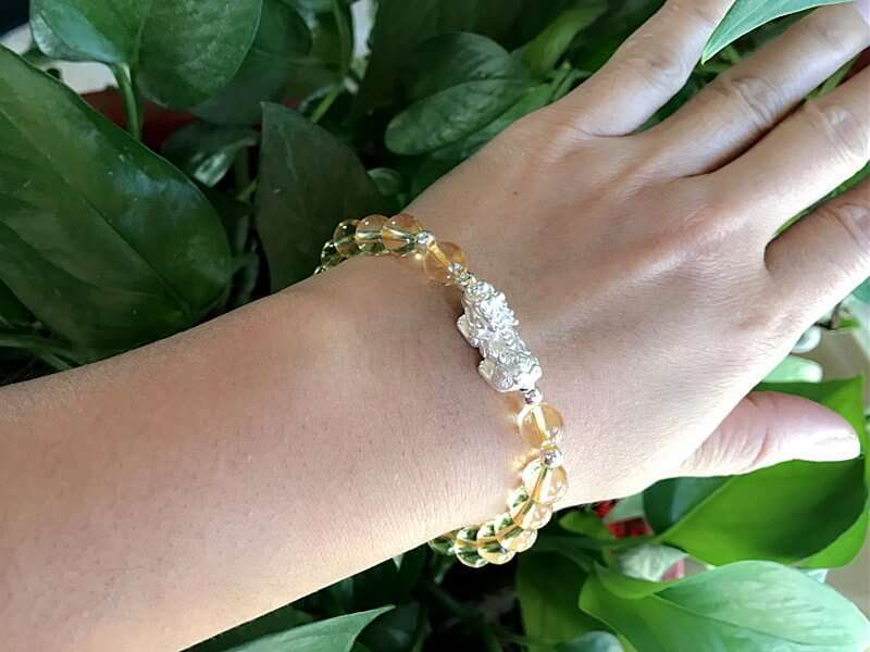S999 Silver Pi Xiu/ Pi Yao Yellow Citrine Beads Bracelet to Attract Wealth  for Pig, Rat, Ox, Tiger