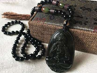 Picture of Natural Golden Obsidian Buddha for Pig, Dog  Amitabha Necklace