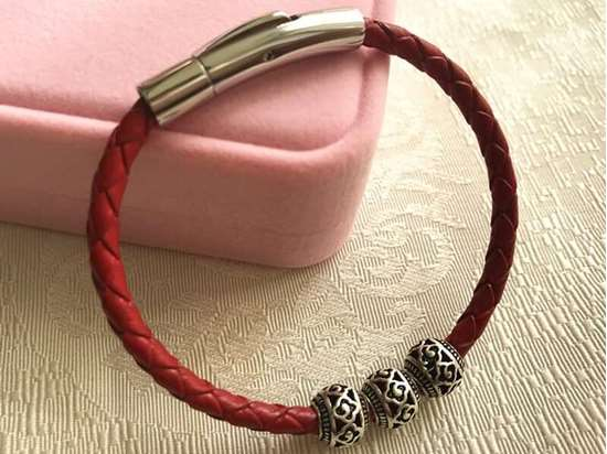 Picture of Red Braided Genuine Leather Rope Lucky Beads Bracelets for 2019
