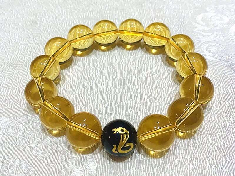 Yellow Citrine Crystal Chinese Zodiac Charm Bracelet For