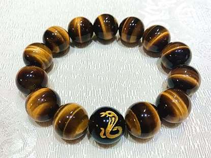 Picture of Top 7A Tiger's Eye Natural  Stone Chinese Zodiac Charm Bracelet for Good Luck and Fortune for Man