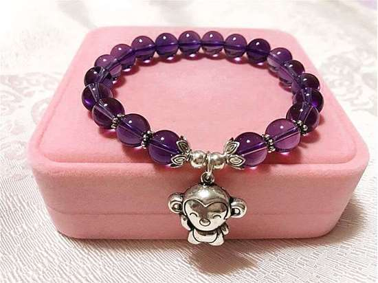 Picture of 925 Silver Chinese Zodiac Charms Amethyst Beaded Bracelet to Attract Love