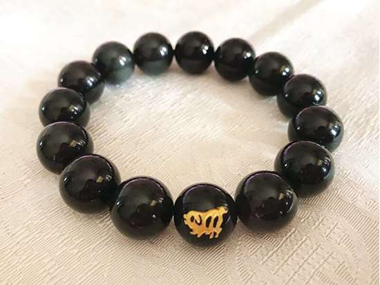 Picture of Black Obsidian Chinese Zodiac Charm Bracelet to Enhance Body Vitality for Man