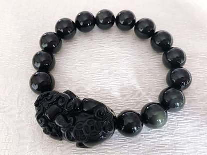 Picture of Rainbow Eye Black Obsidian Pi Xiu/Pi Yao Charm Bracelet for Man for Good Wealth and Health