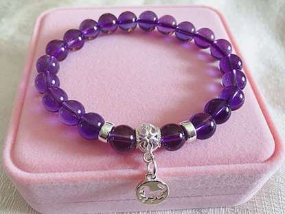Picture of Amethyst Beaded 925 Silver 12 Chinese Zodiac Charms  Bracelet for Good Love and Marriage