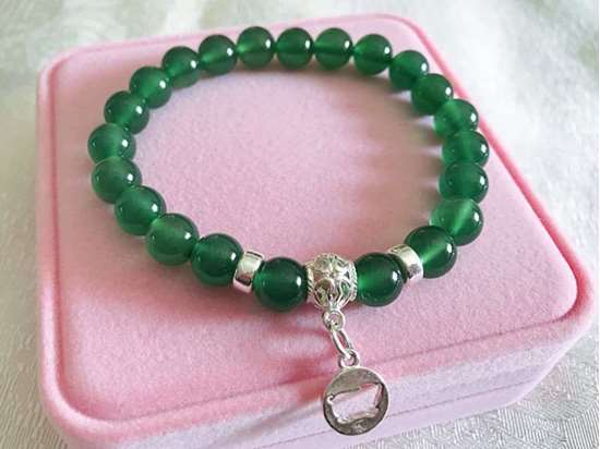 Picture of Green Agate Beads 925 Silver 12 Chinese Zodiac Beaded Charm Bracelet for Good Health