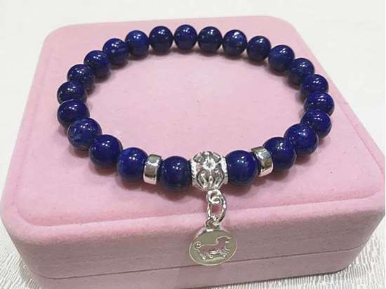 Picture of Natural Stone Lapis Lazuli Chinese Zodiac Bracelets for Good Career