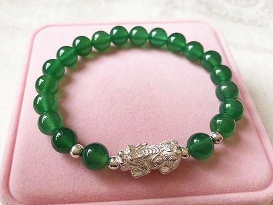 Picture of S9999 Silver Pi Xiu/ Pi Yao Green Agate Beads Bracelet to Attract Wealth for Pig, Rat, Ox, Tiger...