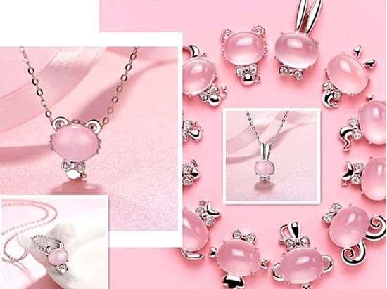 Picture of Rose Quartz 925 Silver 12 Chinese Zodiac Animals Necklace to Attract Love