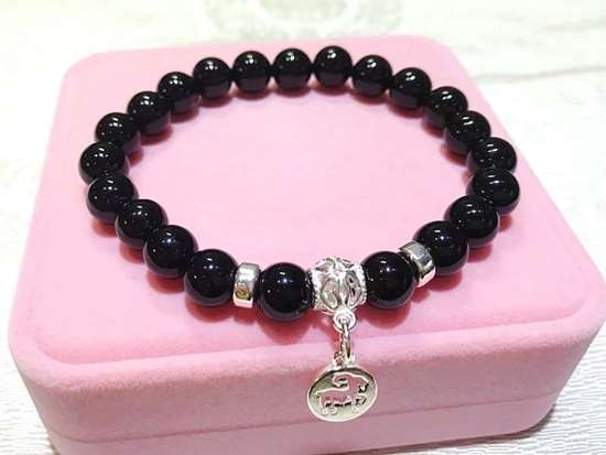 Picture of Black Agate 925 Silver Chinese Zodiac Sign Charm Bracelet for Good Luck