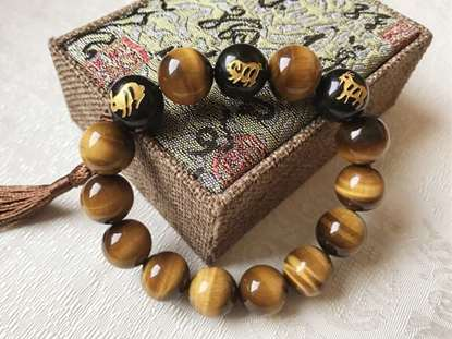 Picture of Top 7A Tiger's Eye Natural Stone Sanhe Three Harmonies Zodiac Symbol Bracelet for Man