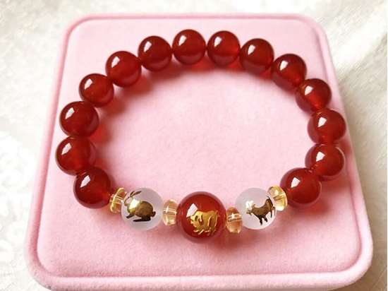 Picture of Red Agate Sanhe Three Harmonies Zodiac Symbol Bracelets for Woman