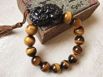 Picture of Top 7A Tiger's Eye Natural Stone Wealth Bracelet with Black Obsidian Pi Xiu/Pi Yao