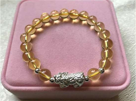Picture of S999 Silver Pi Xiu/ Pi Yao Yellow Citrine Beads Bracelet to Attract Wealth for Pig, Rat, Ox, Tiger...