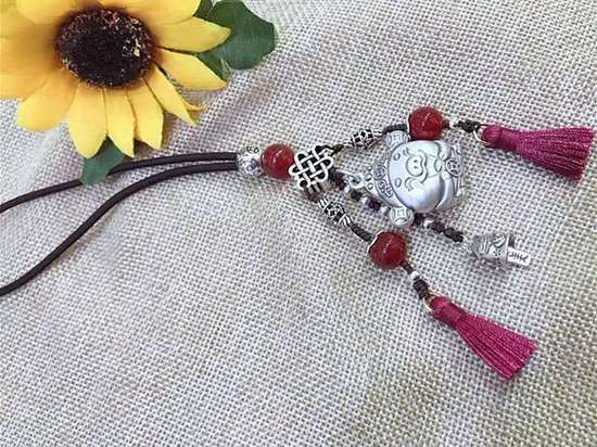 Picture of Car Pendant, Car Rearview Mirror Hanging Ornament Safe Driving Lucky Blessing in 2019 Pig Year