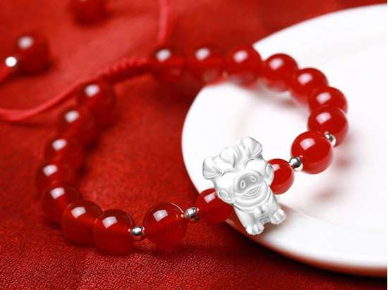 Picture of Red Agate/Black Agate 3D 999 Silver 12 Chinese Zodiac Signs Charm Bracelet for Female/Male Couples