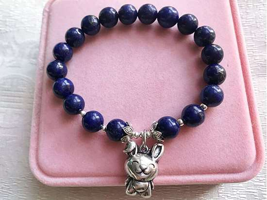 Picture of Lapis Lazuli Sterling Silver Chinese Zodiac Charm Bracelet for Good Career