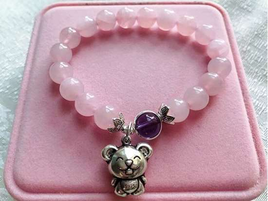 Picture of Rose Quartz Amethyst Lucky Bead 925 Sterling Silver Chinese Zodiac  Charm Bracelet to Attract Love