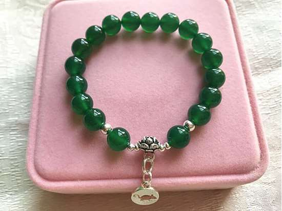 Picture of Natural Green Agate 925 Sterling Silver Chinese Zodiac Charm Bracelet for Good Health and Wealth
