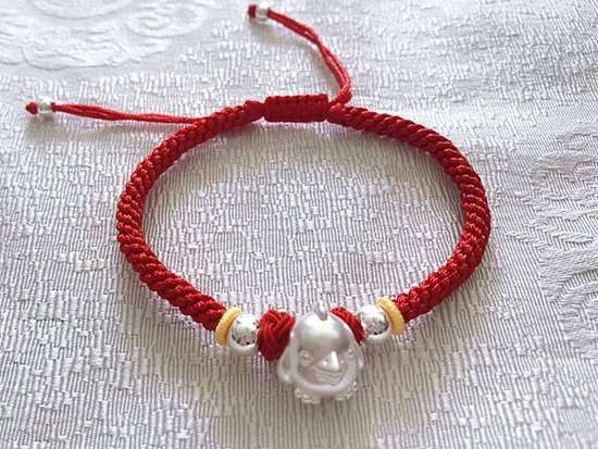 Picture of S999 Sterling Silver Lovely Chicken Zodiac Sign Hand Woven Red Rope Bracelet for Good Luck