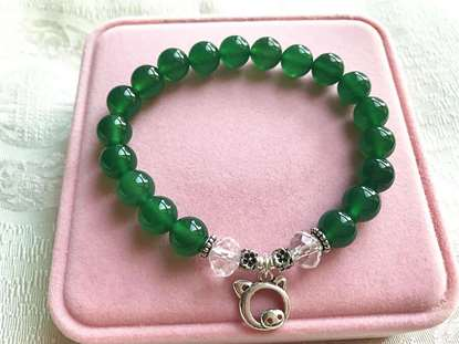 Picture of Green Agate 925 Silver Pig Sign Beaded Bracelet for Good Beauty, Health & Wealth
