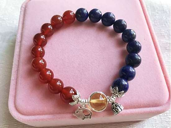 Picture of Red Agate and Lapis Lazuli with Citrine Lucky Bead Bracelet for Good Luck, Wealth and Career for Pig