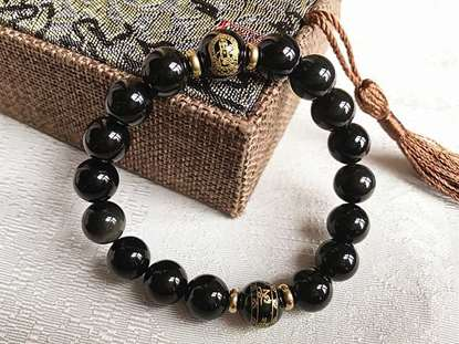 Picture of Black Obsidian Buddhist Protectors Six Words Proverbs Beads Bracelet