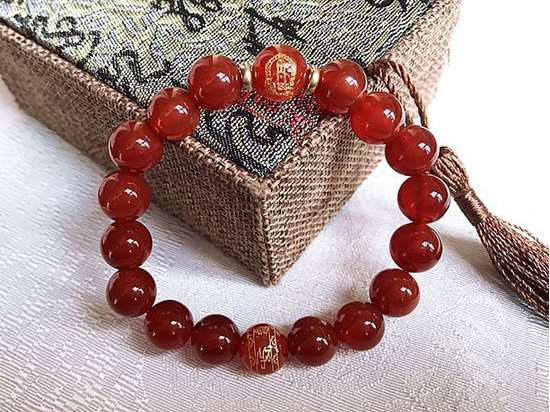 Picture of Red Agate Eight Guardian Zodiac Natal Buddha/Bodhisattva Six Words Proverbs Beads Bracelet