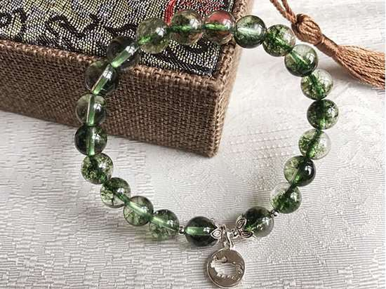 Picture of Green Phantom Ghost Quartz Crystal Zodiac Bracelet to Promote Career & Attract Wealth