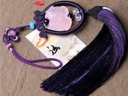 Picture of Hand-made Natural Rose Quartz Double Pi Xiu Car Rearview Mirror Hanging Ornament for Good Luck in Wealth and Love