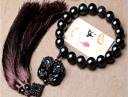 Picture of Hand-made Obsidian Beads Tassels Double Pi Xiu Car Rearview Mirror Hanging Ornament for Good Luck in Wealth