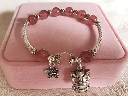 Picture of Natural Strawberry Quartz Crystal 925 Silver Chinese Zodiac Charms Bracelet for Love and Release Pressure