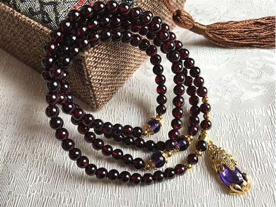 Picture of Red Garnet with Plating Gold Purple Crystal Pi Xiu / Pi Yao Pendant Women Bracelet/Necklace