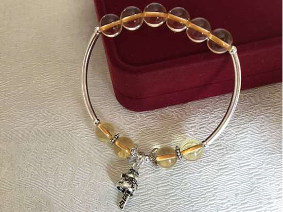Picture of 925 Silver Fortune Cat / Maneki Neko Yellow Citrine Charm Bracelet to Attract Good Luck and Fortune