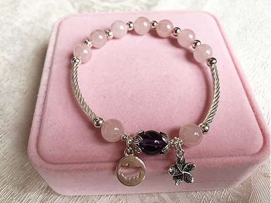 Picture of Natural Rose Quartz and Amethyst 925 Sterling Silver Zodiac Charm Bracelet for Love