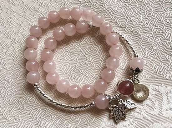 Picture of Two-layer Natural Rose and Strawberry Quartz 925 Sterling Silver Zodiac Charm Bracelet for Love