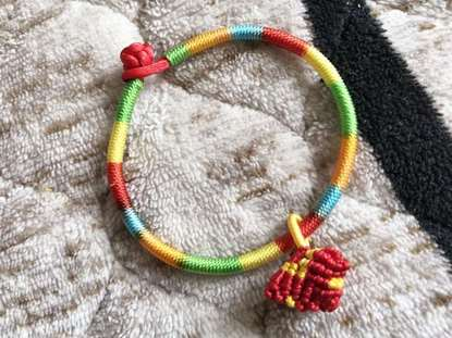 Picture of Hand-made Five-color Thread Zongzi Charm Bracelet for Health to Kids, Children
